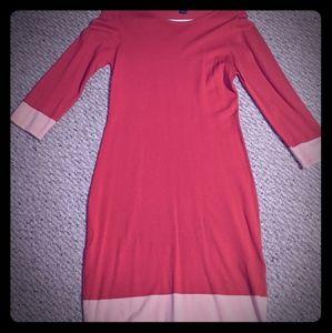 3/4 sweater dress coral, light orange detail